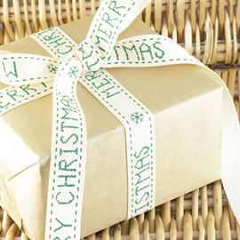 Merry Christmas Herringbone Ribbon - 15mm Green/Cream