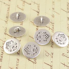 Mini Crest Military Button - Silver 15mm