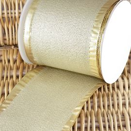 Wide Wired Edge Metallic Ribbon - 100mm - Gold
