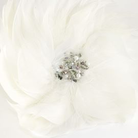 Elegant Large Feather Brooch - White