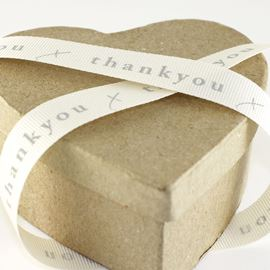 Thank You Grosgrain Ribbon - Grey/Natural. 15mm