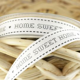 Home Sweet Home Ribbon - Black/Natural. 15mm