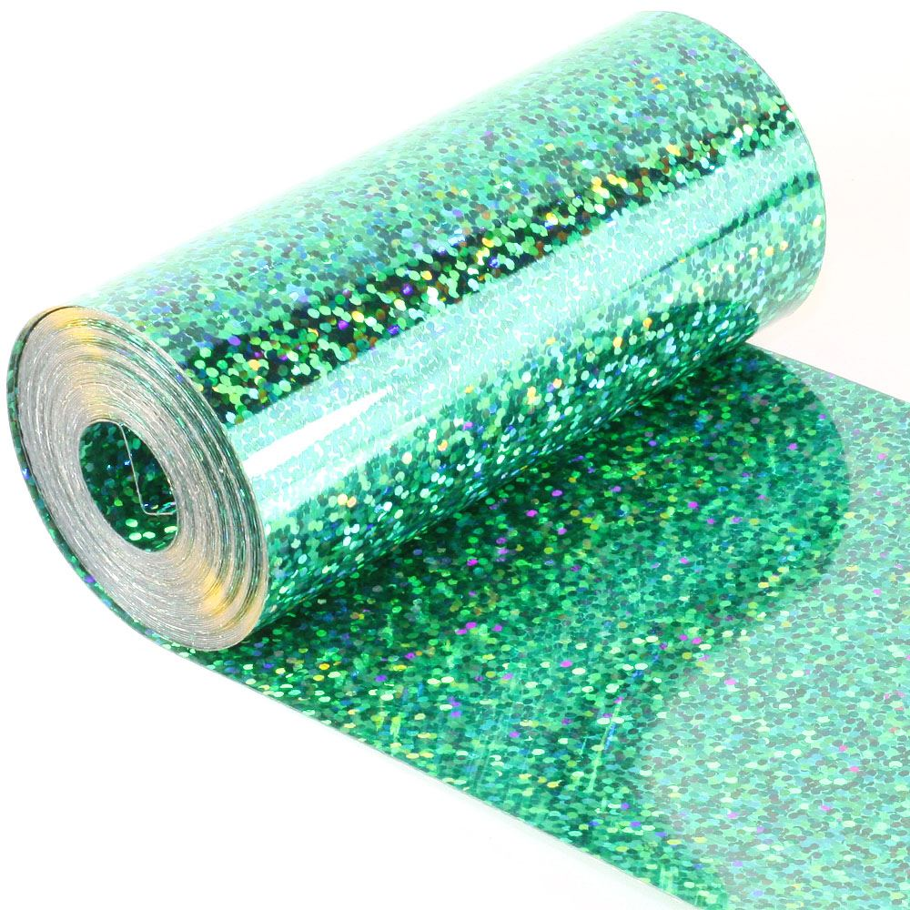 Hologram Amazon Green Sequin Film. 5m Roll