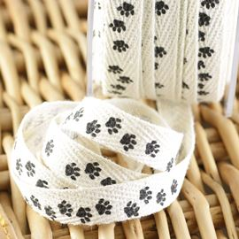 Printed Twill Paw Ribbon - 10mm