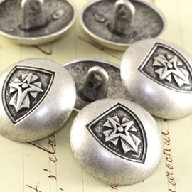 Dome Military Button - Antique Silver 23mm