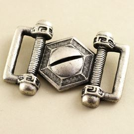 Steam Punk Buckle. Antique Silver. 40mm X 28mm