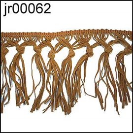 Tan Suedette Knotted Fringing