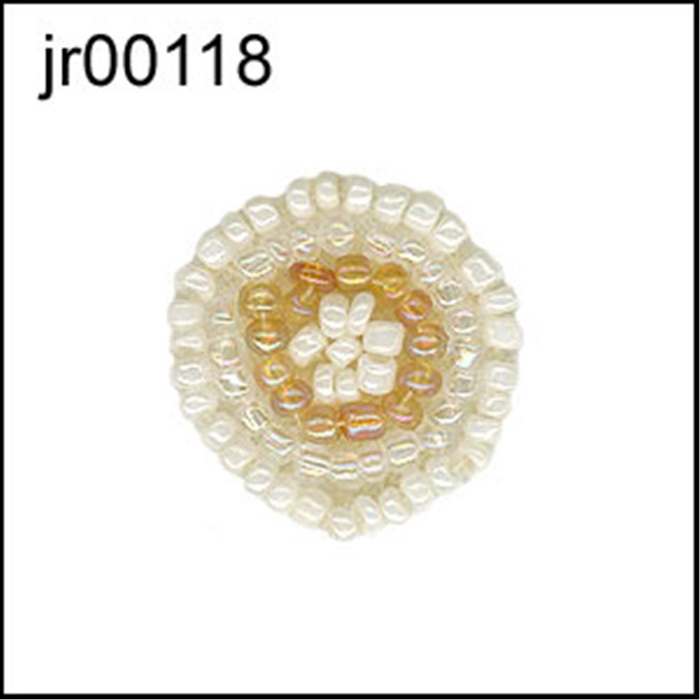 Tiny Caramel And Cream Beaded Disc Motif. 1 Pack Of 10