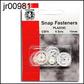 6 Pk Clear Snap Fasteners. 15mm