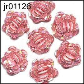 Coral Sequin Flower X 5