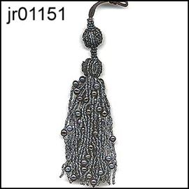 Gunmetal Beaded Tassel