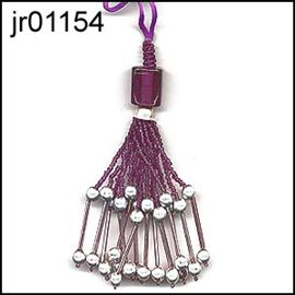 Deep Damson Beaded Tassel