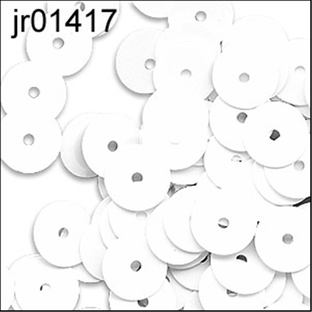 Glossy White Flat Sequins. 6mm