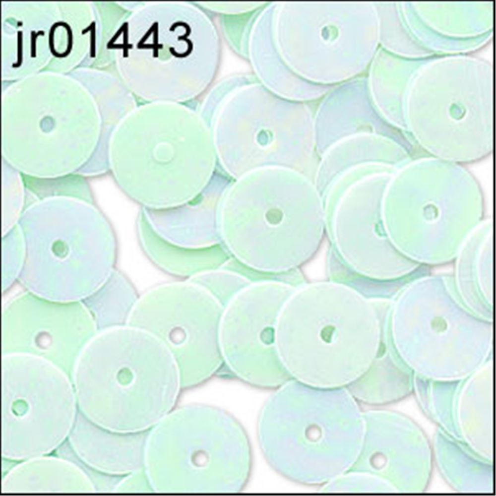 Glossy Green Opal Flat Sequins. 6mm
