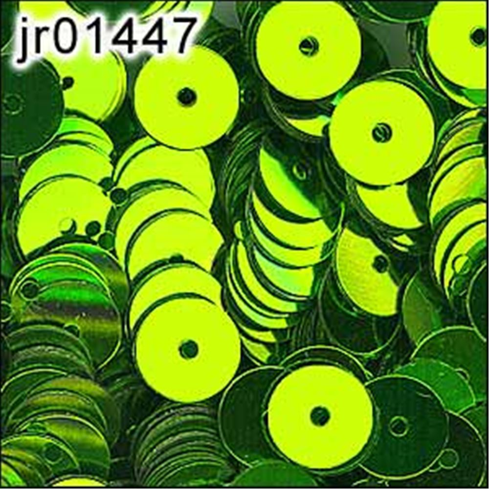 Metallic Lime Green Flat Sequins. 6mm