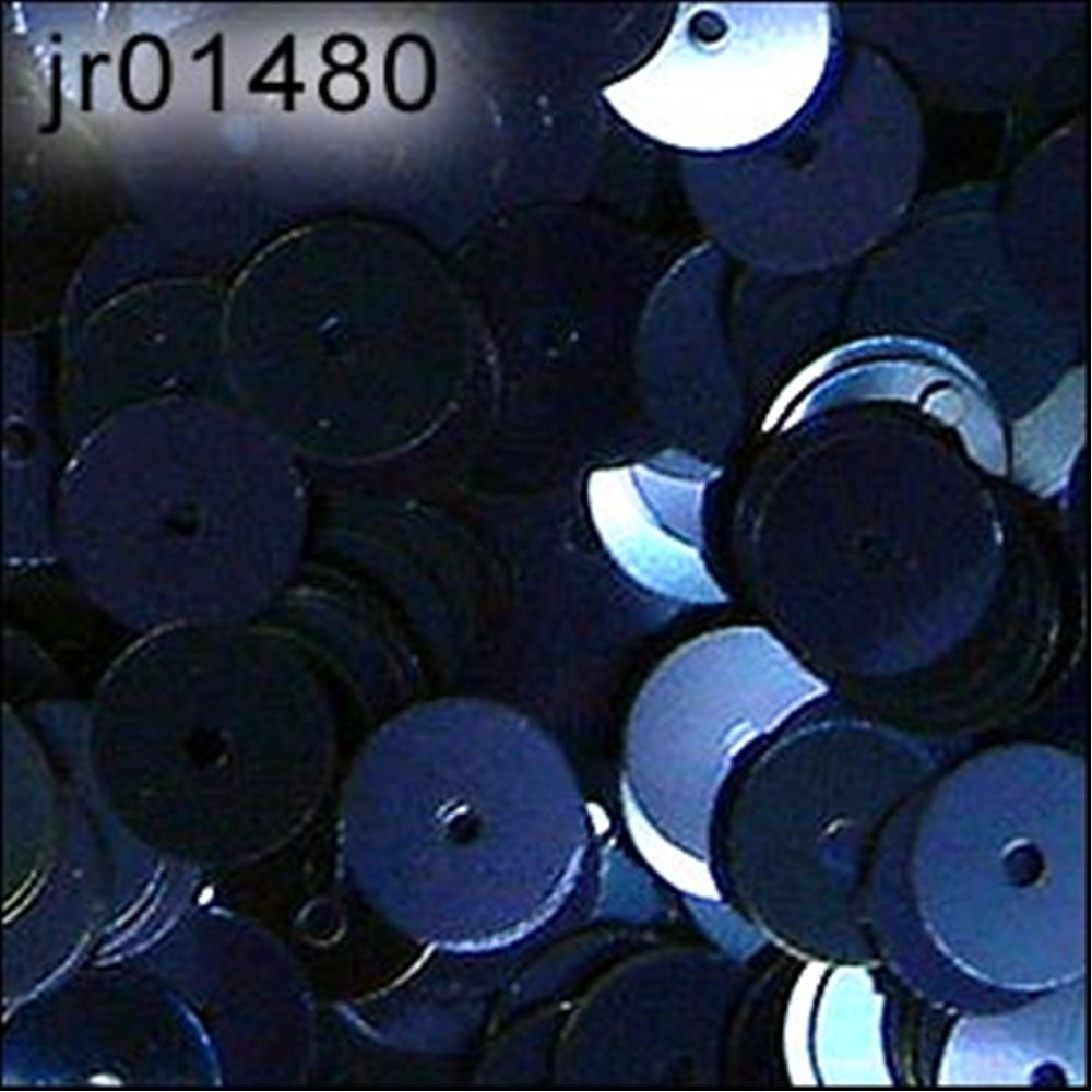 Metallic Navy Blue Flat Sequins. 6mm