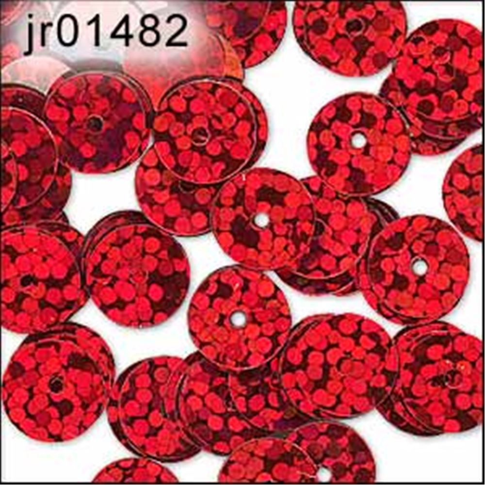 Hologram Red Flat Sequins. 6mm