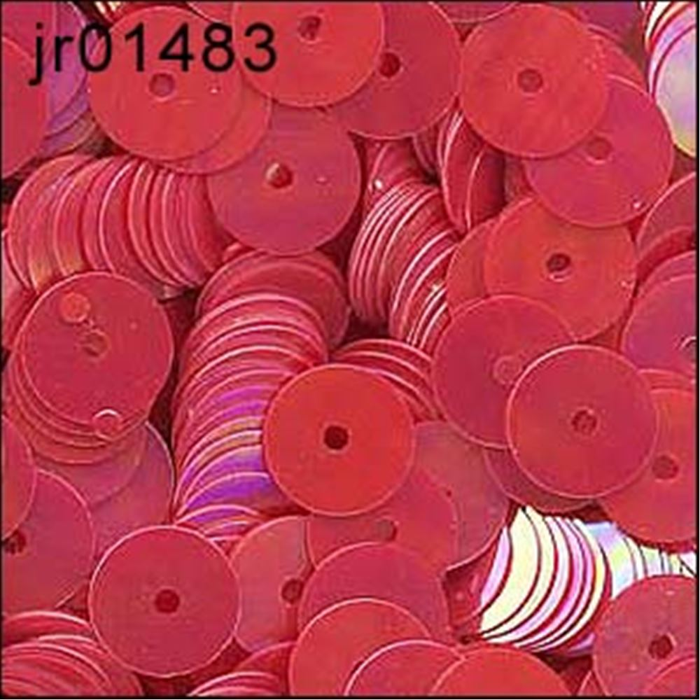 Clear Rainbow Red Flat Sequins. 6mm