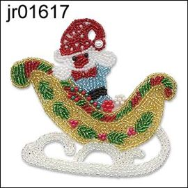 Seed Bead Xmas Teddy In Sledge
