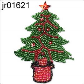Seed Bead Xmas Tree With Red Detailing