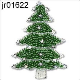 Seed Bead Xmas Tree With Silver Detailing