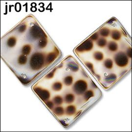 3 X Square Tortoise Shell Beads