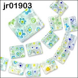 12 Millefiori Rectangular Glass Beads