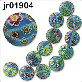 12 Millefiori  Blue Glass Disc Beads