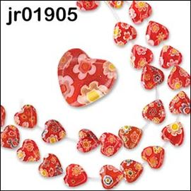 25 Millefiori Red Glass Heart Beads