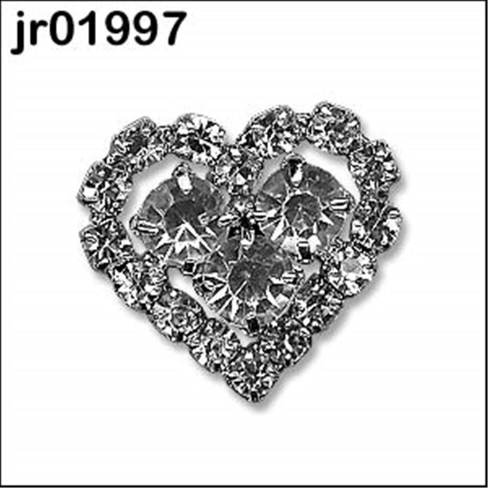 Heart Shape Diamante Button