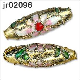 2 Gold Barrel Shaped Cloisonné Beads