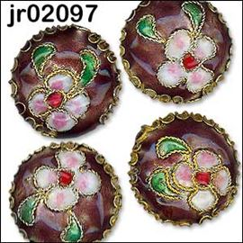 4 Mauve Disc Shaped Cloisonné Beads