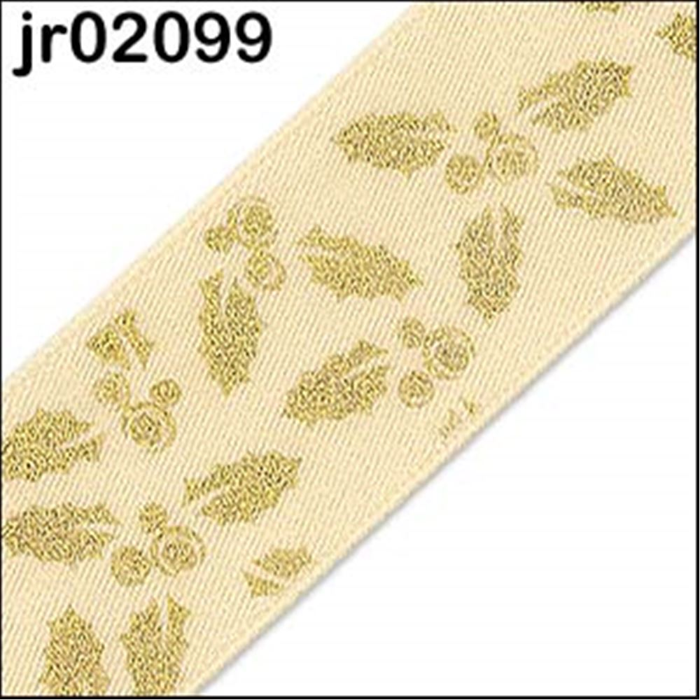 Cream Holly Satin Ribbon 25mm
