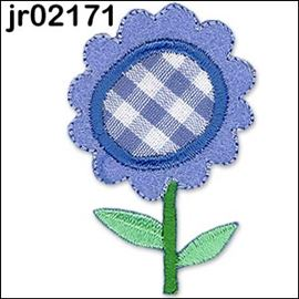 Blue & White Gingham Flower
