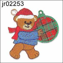 Teddy With Xmas Bauble Motif