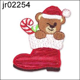 Teddy In Xmas Boot Motif
