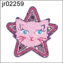 Pink Cat Head In Star Motif