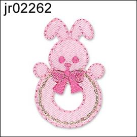 Pink Bunny Baby Rattle Motif