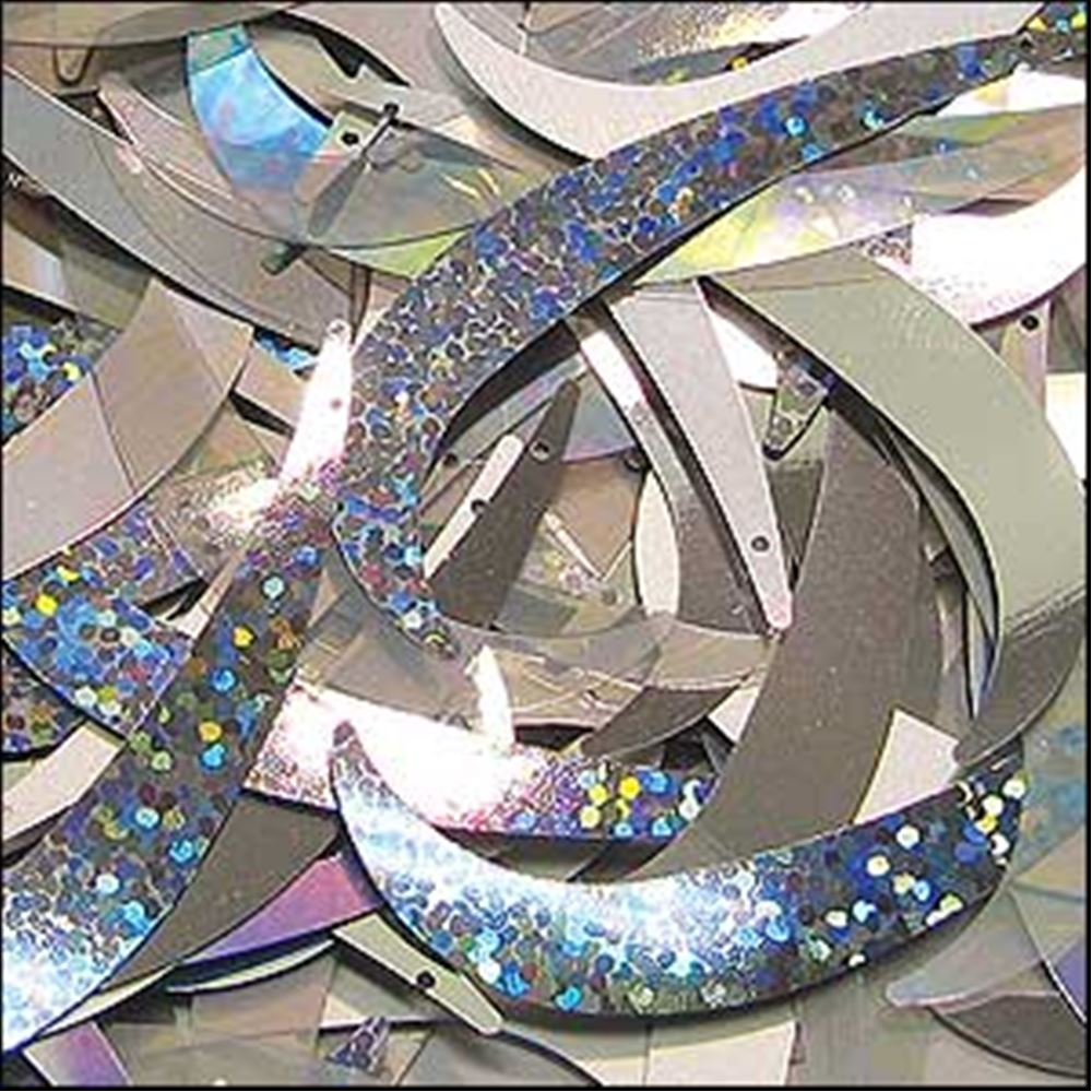 Silver Shimmer Mix Tusk Sequins. 55mm