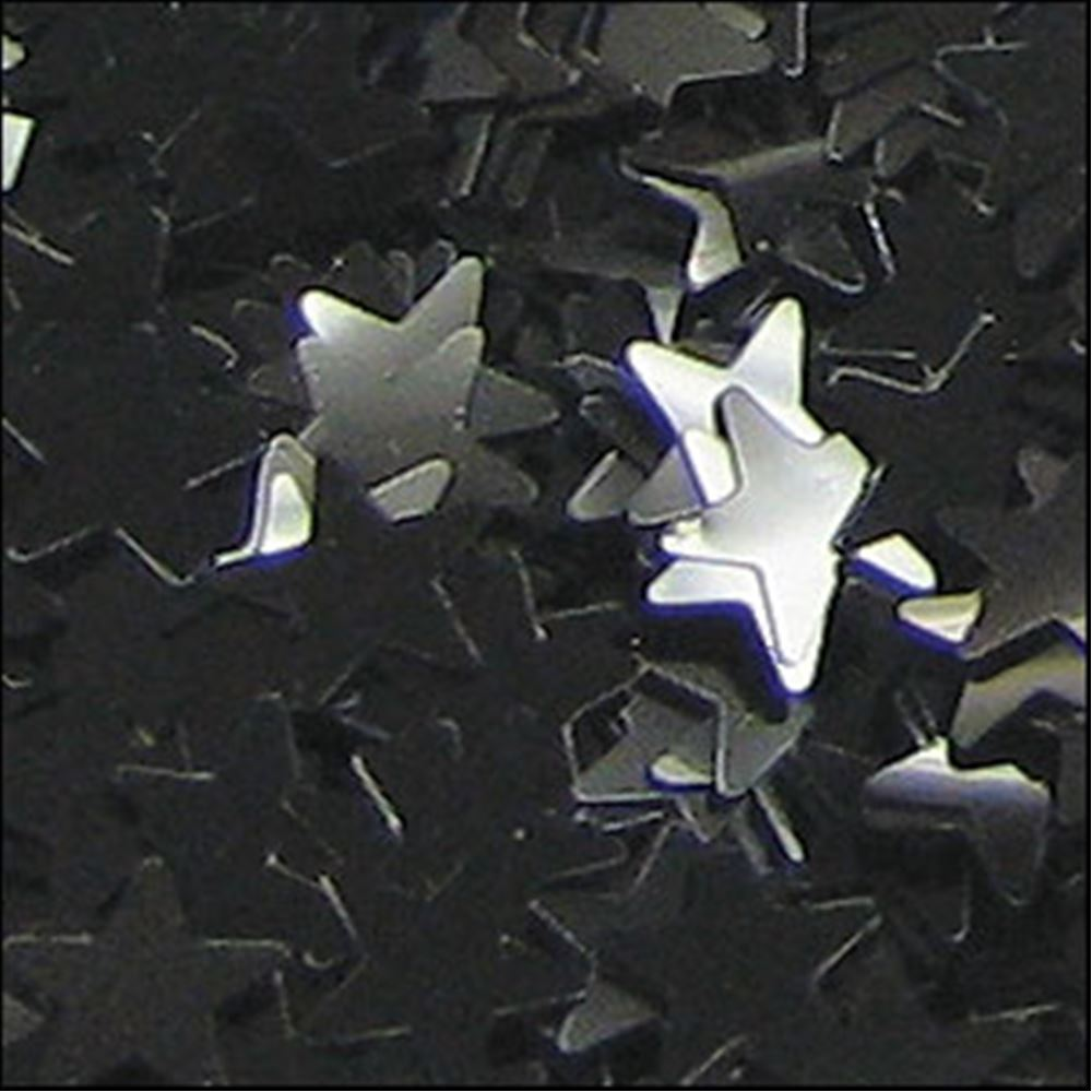 Glossy Black Star Sequins. 6mm