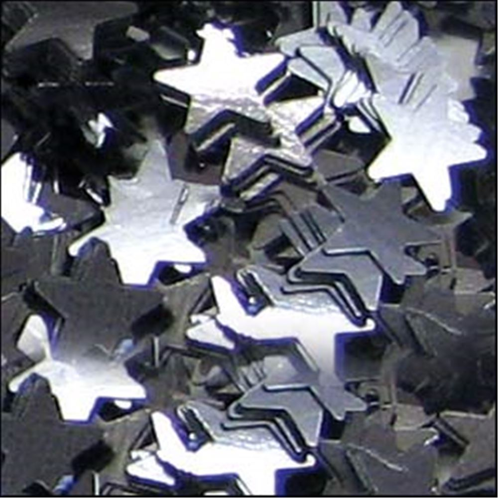 Metallic Gunmetal Star Sequins. 6mm