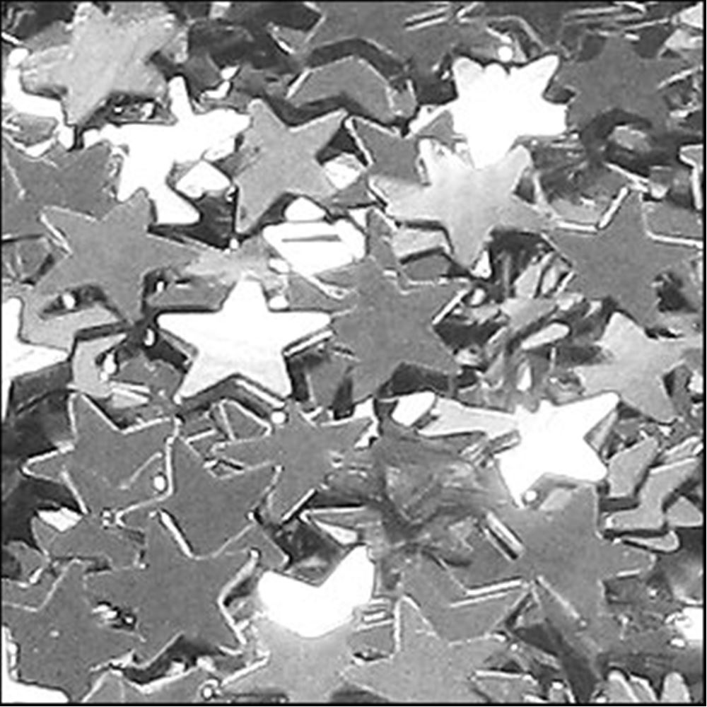Metallic Silver Star Sequins. 6mm