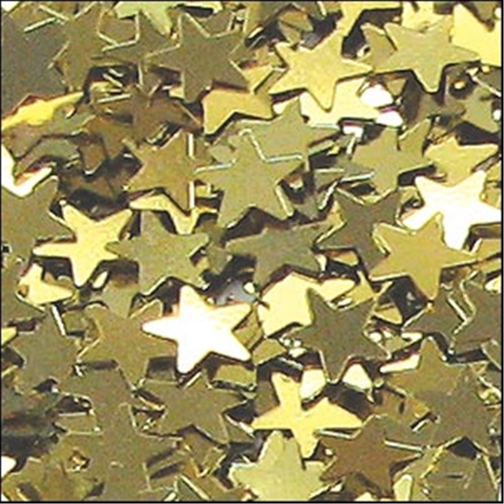 Metallic Gold Star Sequins. 6mm