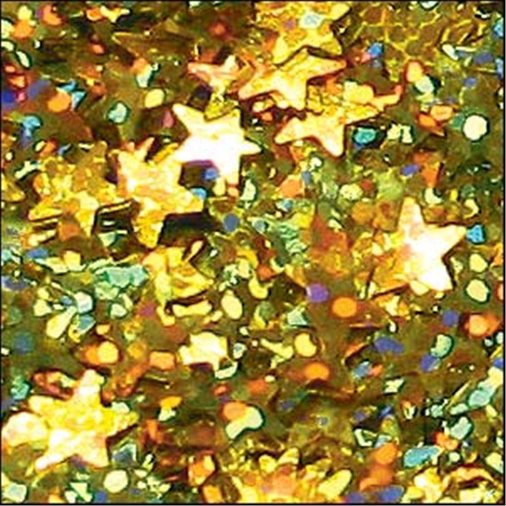 Hologram Gold Star Sequins. 6mm