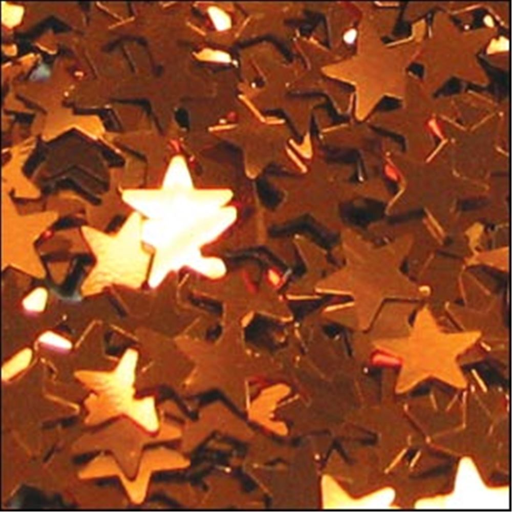 Metallic Orange Star Sequins. 6mm