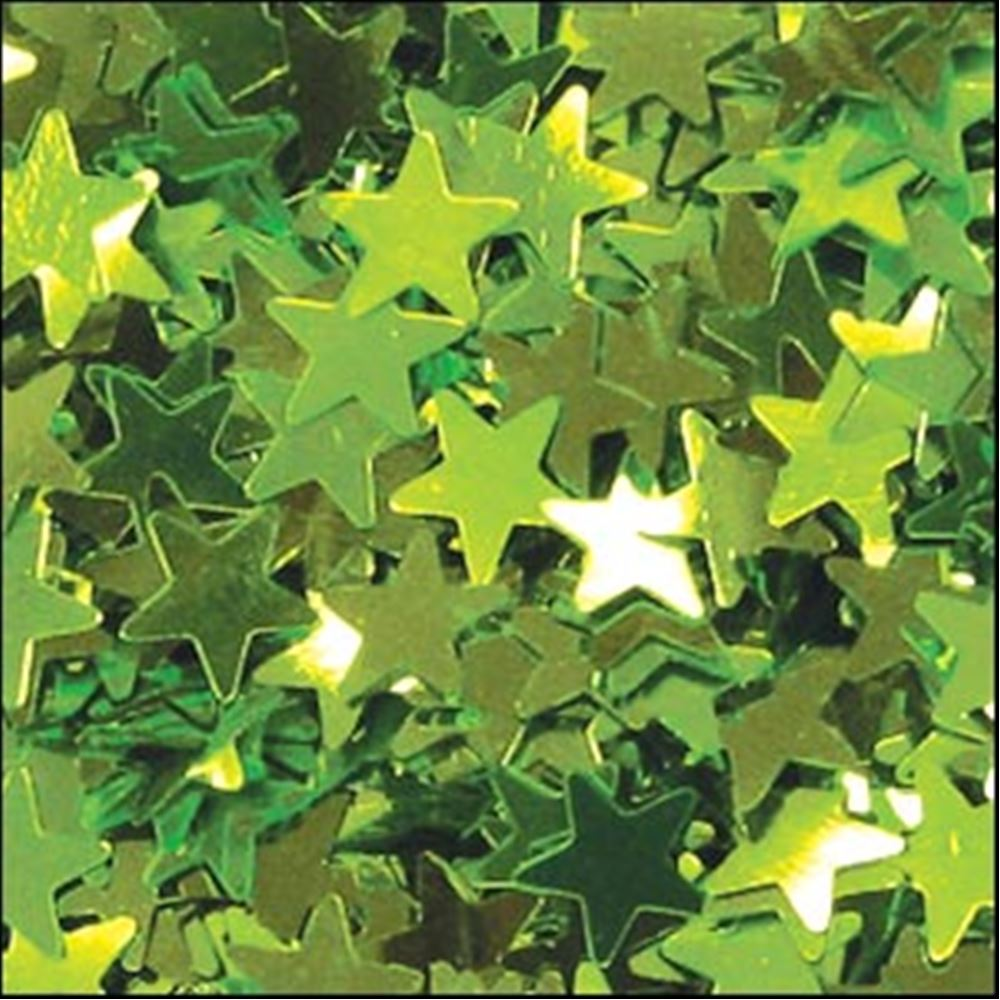 Metallic Lime Green Star Sequins. 6mm