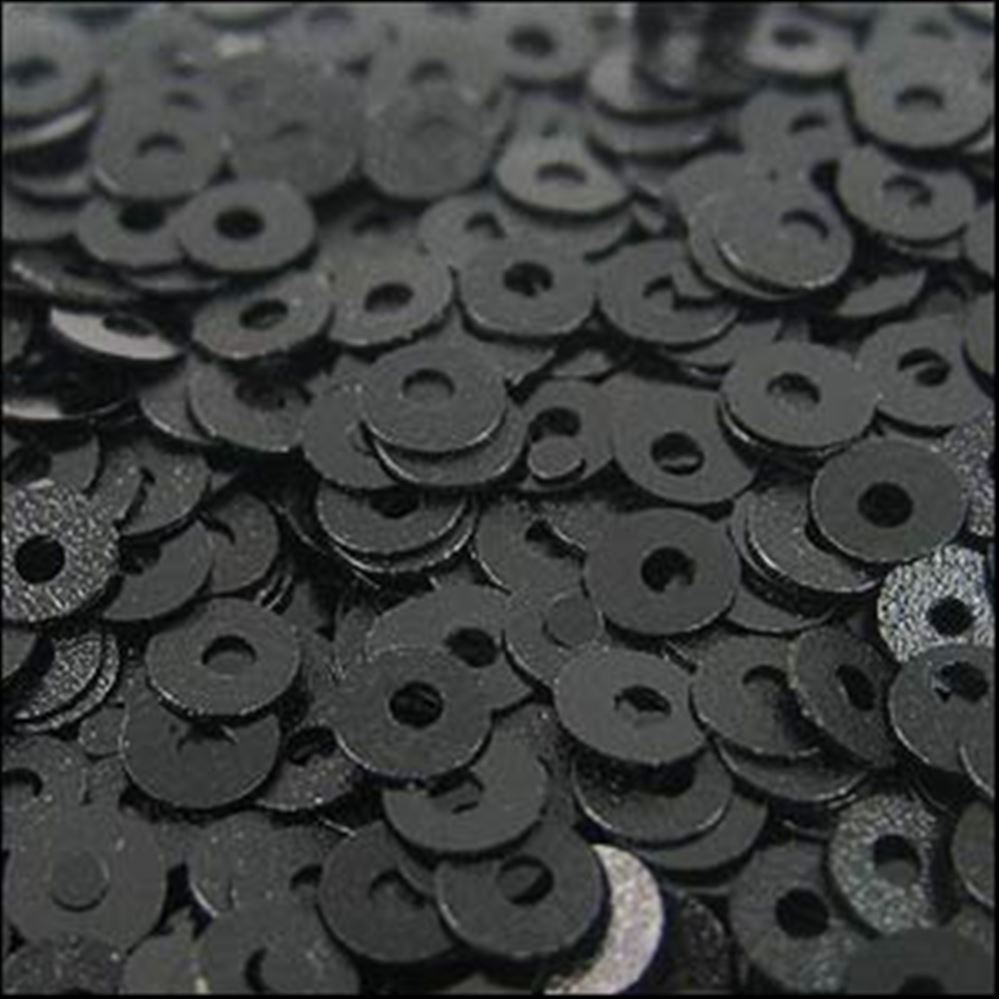 Matte Black Flat Sequins. 3mm