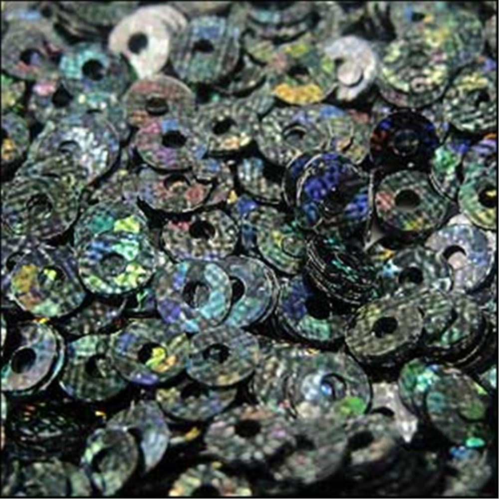 Hologram Black Flat Sequins. 3mm