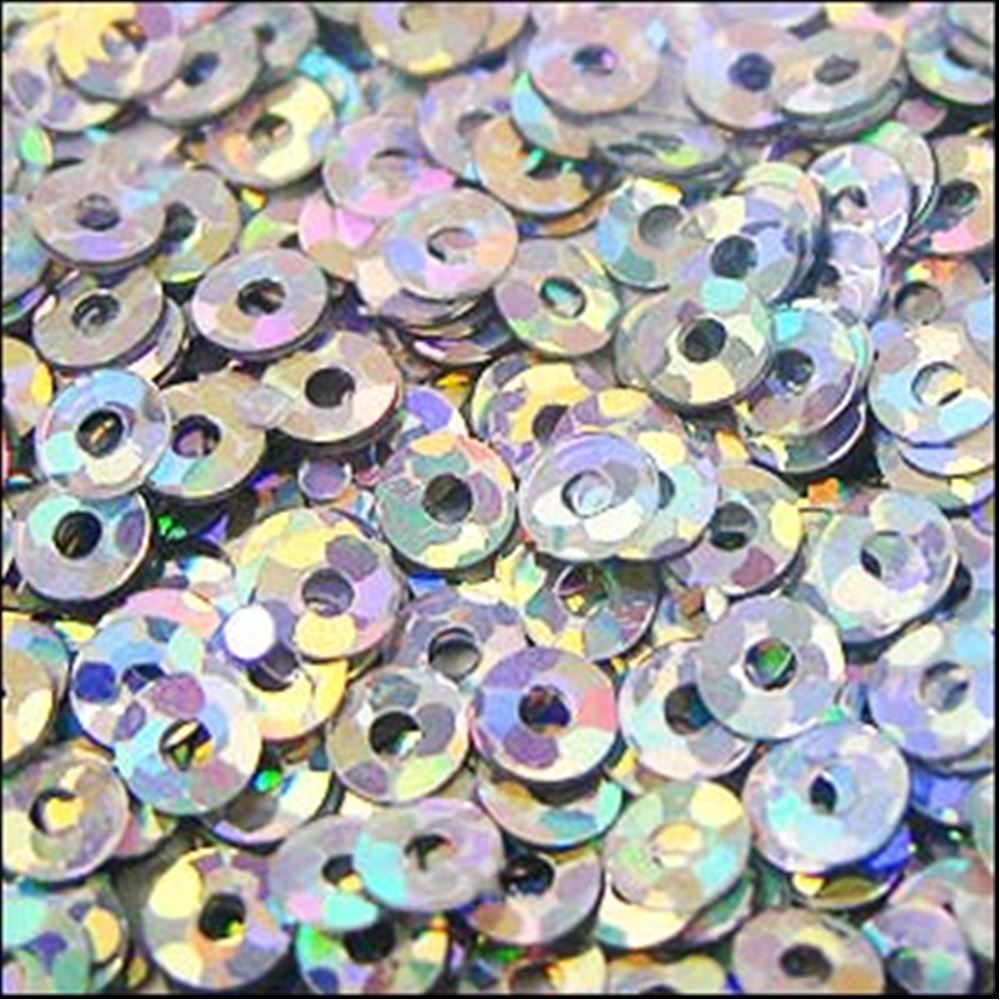 Hologram Silver Flat Sequins. 3mm
