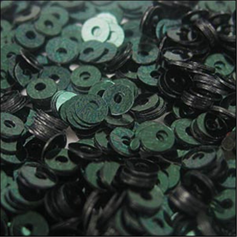 Metallic Forest Green Flat Sequins. 3mm